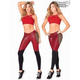 Malla Leather calza Rojo