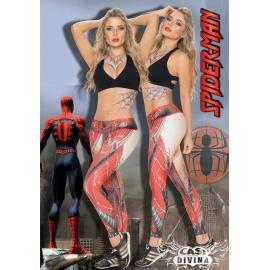 legging supplex roja con estampado de telaraña