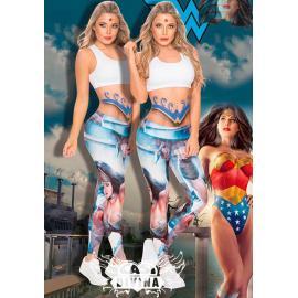 Legging supplex con estampado comic de amazona en azul