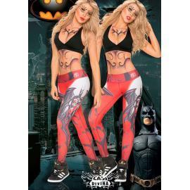 Legging rojo con estampado de murciélago