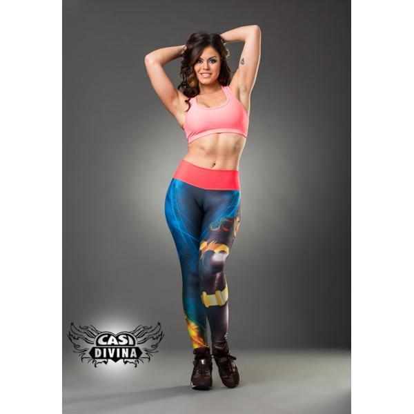 Legging Lycra de superhéroe con banda ancha rosa en cintura y estampado de murciélago