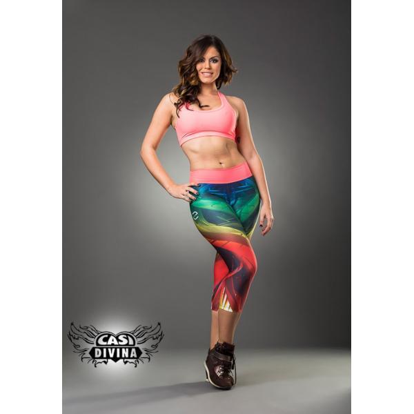 Legging Arco Iris Abstracto con cinta ancha rosa pálido en cintura