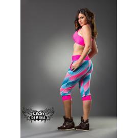 Legging bombacho con pierna capri estampado con diseño geométrico en azul y rosa con remate en cintura rosa