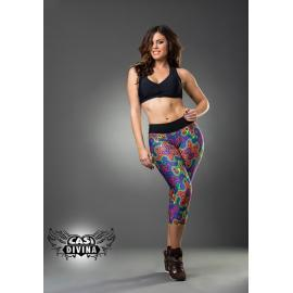 Legging psicodélico multicolor con banda ancha negra en cintura