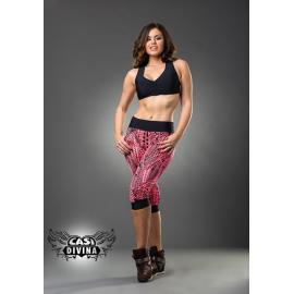 Legging Bombacho rosa y negro con estampado tribal, detalles y cintura negra