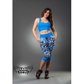 Legging azul capri bombacho con estampado abstracto